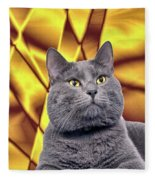 King Kitty With Golden Eyes Fleece Blanket