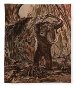 King Kong - Kong Battles A Serpentine Dinosaur Fleece Blanket