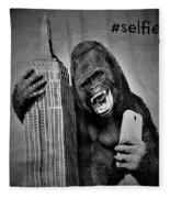 King Kong Selfie B W  Fleece Blanket