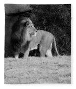 King Of Beasts Black And White Fleece Blanket
