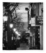 King Street At Night - Old Town Alexandria Fleece Blanket