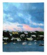King's Wharf Bermuda Harbor Sunrise Fleece Blanket