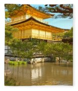 Kinkakuji Golden Pavilion Kyoto Fleece Blanket