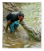 Kissing A Crocodile Fleece Blanket