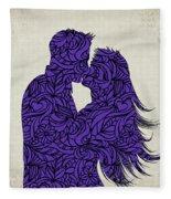 Kissing Couple Silhouette Ultraviolet Fleece Blanket