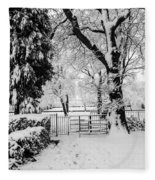 Kissing Gate In The Snow Fleece Blanket