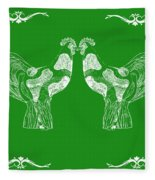 Kissing Roosters 3 Fleece Blanket