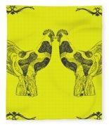 Kissing Roosters 5 Fleece Blanket