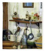 Kitchen With Wire Basket Of Eggs Fleece Blanket