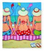 Kite Flying 101 - Girlfriends On Beach Fleece Blanket