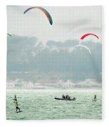 Kiteboarding In The San Francisco Bay Fleece Blanket