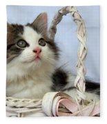Kitten In Basket Fleece Blanket