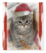 Kitten Playing Santa  Fleece Blanket