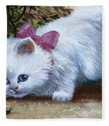 Kitten With Snail And Ball Fleece Blanket