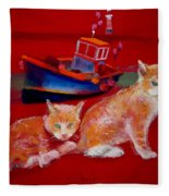 Kittens On The Beach Fleece Blanket