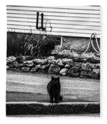Kitty Across The Street Black And White Fleece Blanket
