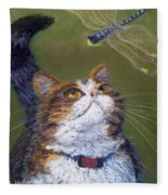 Kitty And The Dragonfly Close-up Fleece Blanket