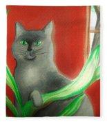 Kitty In The Plants Fleece Blanket