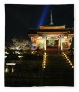 Kiyomizu-dera At Night Fleece Blanket
