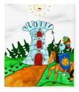 Brave Knight-errant And His Funny Wise Horse Fleece Blanket