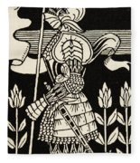 Knight Of Arthur, Preparing To Go Into Battle, Illustration From Le Morte D'arthur By Thomas Malory Fleece Blanket