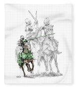 Knight Time - Renaissance Medieval Print Color Tinted Fleece Blanket