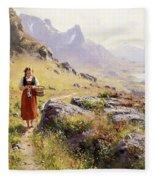 Knitting In A Norwegian Landscape Fleece Blanket