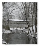 Knox Valley Forge Covered Bridge In Winter Fleece Blanket