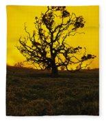 Koa Tree Silhouette Fleece Blanket