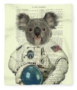 Koala In Space Illustration Fleece Blanket