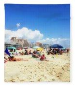 Blue Sky Day In Ocean City Fleece Blanket