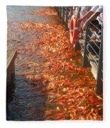 Koi Fishes In Feeding Frenzy Part Two Fleece Blanket