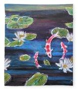 Koi In Lilly Pond Fleece Blanket