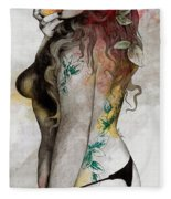 Koi No Yokan - Erotic Drawing, Sexy Tattoo Girl In Thong Biting An Apple Fleece Blanket