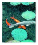 Koi Pond 3 Fleece Blanket