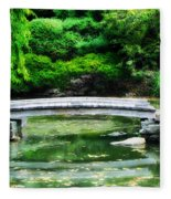 Koi Pond Bridge - Japanese Garden Fleece Blanket
