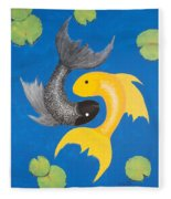 Koi Yin-yang Fleece Blanket