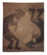 kokopelli Hand cut Tiles Fleece Blanket