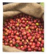 Kona Coffee Bean Harvest Fleece Blanket