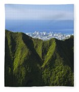 Koolau Mountains And Honolulu Fleece Blanket