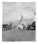 Kootenai First Nations Camp, C.1920-30s Fleece Blanket
