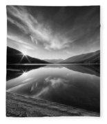 Kootenay Lake Sunrise Black And White Fleece Blanket