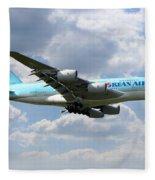Korean Air Airbus A380 Fleece Blanket