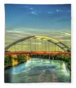 Korean Veterans Memorial Bridge 2 Nashville Tennessee Sunset Art Fleece Blanket