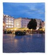 Krakow Main Square By Night Fleece Blanket