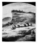 Krieghoff: Canoe On Rapids Fleece Blanket