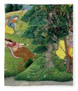 Krishna Fluting The The Milkmaids Fleece Blanket