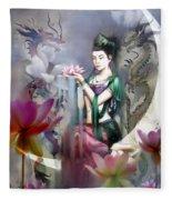 Kuan Yin Lotus Of Healing Fleece Blanket