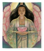 Kuan Yin Pink Lotus Heart Fleece Blanket