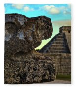 Kukulkan Pyramid At Chichen Itza In The Yucatan Of Mexico Fleece Blanket